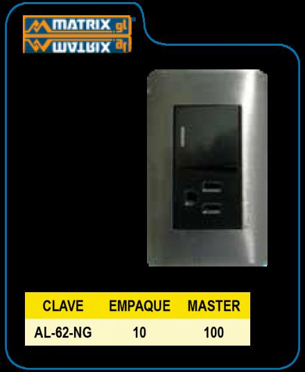 Placa Armada Negro 1 Apagador sencillo / Escalera 1 contacto