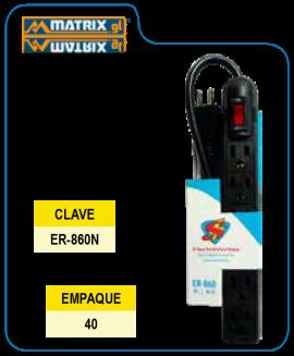 Multicontacto Blanco 6E Salidas Supplier Negro