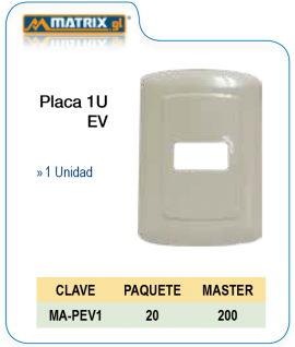 Placa 1U EV