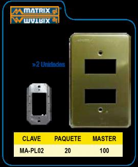 Placa Aluminio Dorada 2U