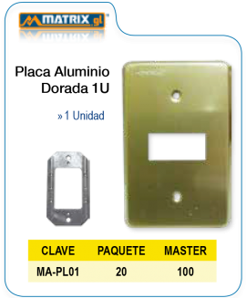 Placa Aluminio Dorada 1U